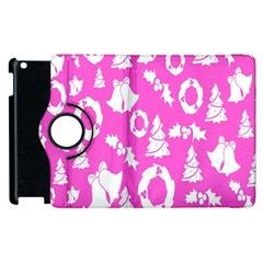 Pink Christmas Background Apple Ipad 2 Flip 360 Case