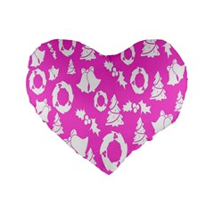 Pink Christmas Background Standard 16  Premium Heart Shape Cushions