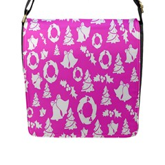 Pink Christmas Background Flap Messenger Bag (l)  by Nexatart