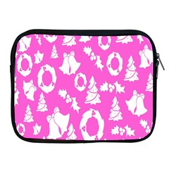 Pink Christmas Background Apple Ipad 2/3/4 Zipper Cases by Nexatart