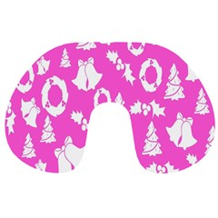 Pink Christmas Background Travel Neck Pillows