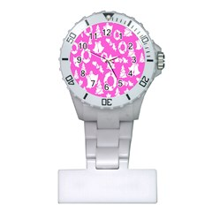Pink Christmas Background Plastic Nurses Watch