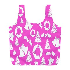 Pink Christmas Background Full Print Recycle Bags (l)