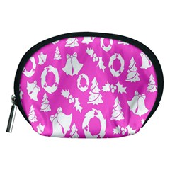 Pink Christmas Background Accessory Pouches (medium)