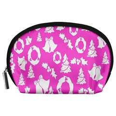 Pink Christmas Background Accessory Pouches (large)
