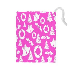 Pink Christmas Background Drawstring Pouches (large)