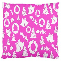 Pink Christmas Background Large Flano Cushion Case (two Sides)
