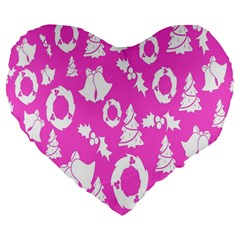 Pink Christmas Background Large 19  Premium Flano Heart Shape Cushions