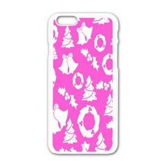 Pink Christmas Background Apple Iphone 6/6s White Enamel Case