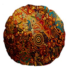 Ethnic Pattern Large 18  Premium Round Cushions