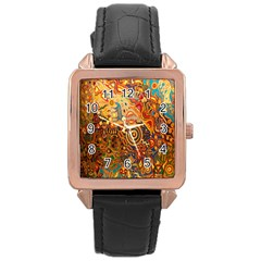 Ethnic Pattern Rose Gold Leather Watch