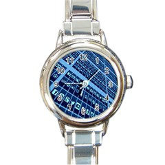 Mobile Phone Smartphone App Round Italian Charm Watch