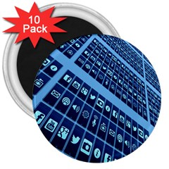 Mobile Phone Smartphone App 3  Magnets (10 Pack)