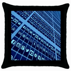 Mobile Phone Smartphone App Throw Pillow Case (black)