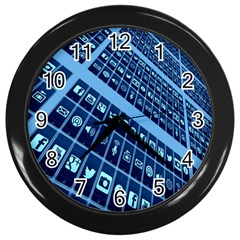 Mobile Phone Smartphone App Wall Clocks (black)