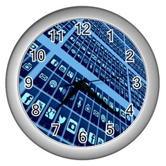 Mobile Phone Smartphone App Wall Clocks (silver)