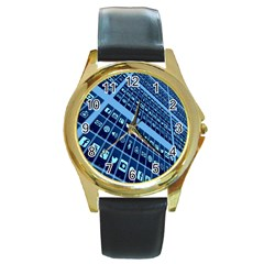 Mobile Phone Smartphone App Round Gold Metal Watch