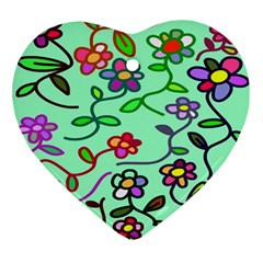 Flowers Floral Doodle Plants Ornament (heart) by Nexatart