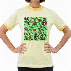 Flowers Floral Doodle Plants Women s Fitted Ringer T Shirts