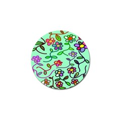 Flowers Floral Doodle Plants Golf Ball Marker