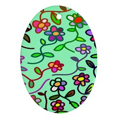 Flowers Floral Doodle Plants Oval Ornament (two Sides)