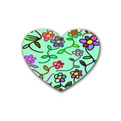 Flowers Floral Doodle Plants Rubber Coaster (heart)  by Nexatart