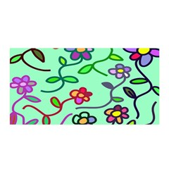Flowers Floral Doodle Plants Satin Wrap
