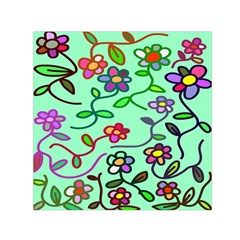Flowers Floral Doodle Plants Small Satin Scarf (square)