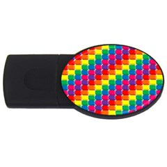 Rainbow 3d Cubes Red Orange Usb Flash Drive Oval (2 Gb) by Nexatart