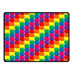 Rainbow 3d Cubes Red Orange Fleece Blanket (small)