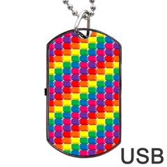 Rainbow 3d Cubes Red Orange Dog Tag Usb Flash (two Sides) by Nexatart