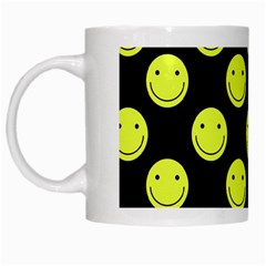 Happy Face Pattern White Mugs