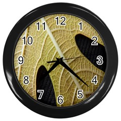 Yellow Leaf Fig Tree Texture Wall Clocks (black) by Nexatart