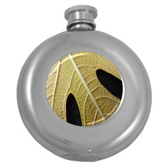 Yellow Leaf Fig Tree Texture Round Hip Flask (5 Oz) by Nexatart