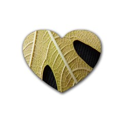 Yellow Leaf Fig Tree Texture Heart Coaster (4 Pack)