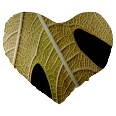 Yellow Leaf Fig Tree Texture Large 19  Premium Flano Heart Shape Cushions by Nexatart