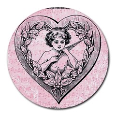 Heart Drawing Angel Vintage Round Mousepads by Nexatart