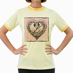 Heart Drawing Angel Vintage Women s Fitted Ringer T-shirts by Nexatart