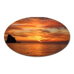 Sunset Sea Afterglow Boot Oval Magnet by Nexatart