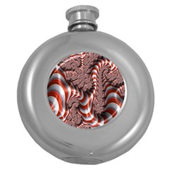 Fractal Abstract Red White Stripes Round Hip Flask (5 Oz)