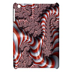 Fractal Abstract Red White Stripes Apple Ipad Mini Hardshell Case by Nexatart