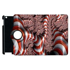 Fractal Abstract Red White Stripes Apple Ipad 3/4 Flip 360 Case by Nexatart
