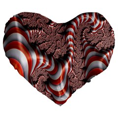 Fractal Abstract Red White Stripes Large 19  Premium Heart Shape Cushions by Nexatart