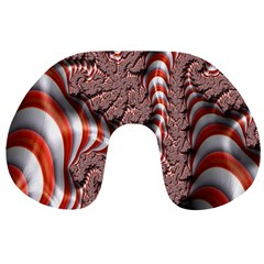 Fractal Abstract Red White Stripes Travel Neck Pillows by Nexatart