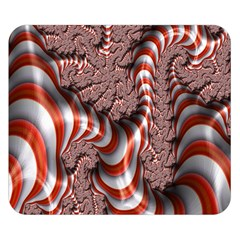 Fractal Abstract Red White Stripes Double Sided Flano Blanket (small)  by Nexatart