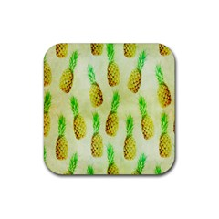 Pineapple Wallpaper Vintage Rubber Square Coaster (4 Pack)  by Nexatart