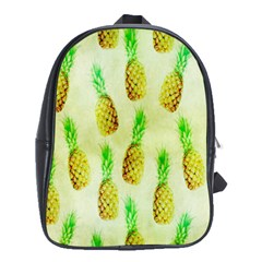 Pineapple Wallpaper Vintage School Bags(large)  by Nexatart