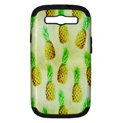 Pineapple Wallpaper Vintage Samsung Galaxy S Iii Hardshell Case (pc+silicone) by Nexatart