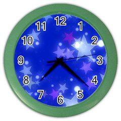 Star Bokeh Background Scrapbook Color Wall Clocks by Nexatart