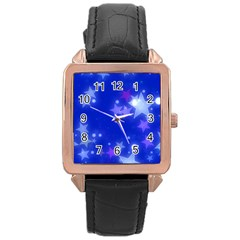 Star Bokeh Background Scrapbook Rose Gold Leather Watch